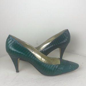 Vintage j. Renee Green Snakeskin Heels